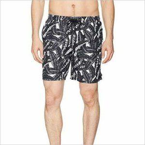 NWT Beach Bros Black Leaf Pattern Board Shorts